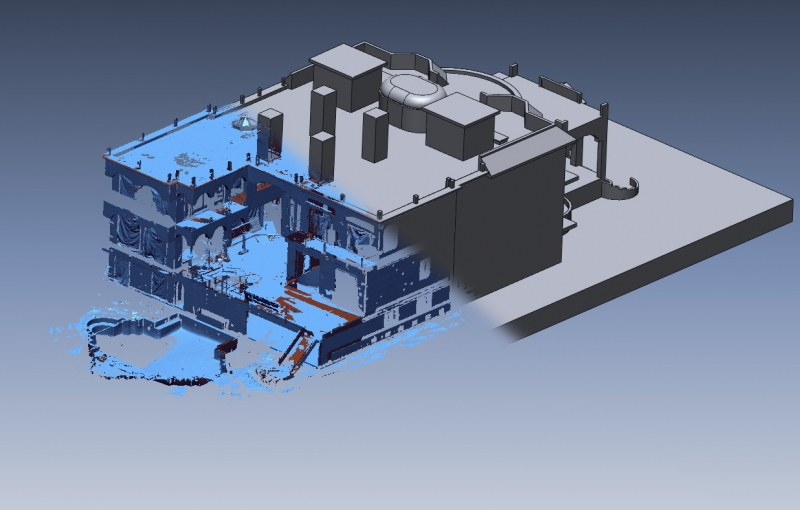 Mansion 3D scan data and CAD model overlay