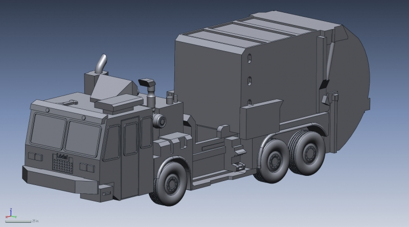 CAD model of a garbage truck