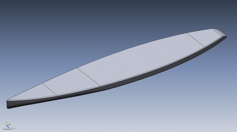 3D CAD model of a paddle board