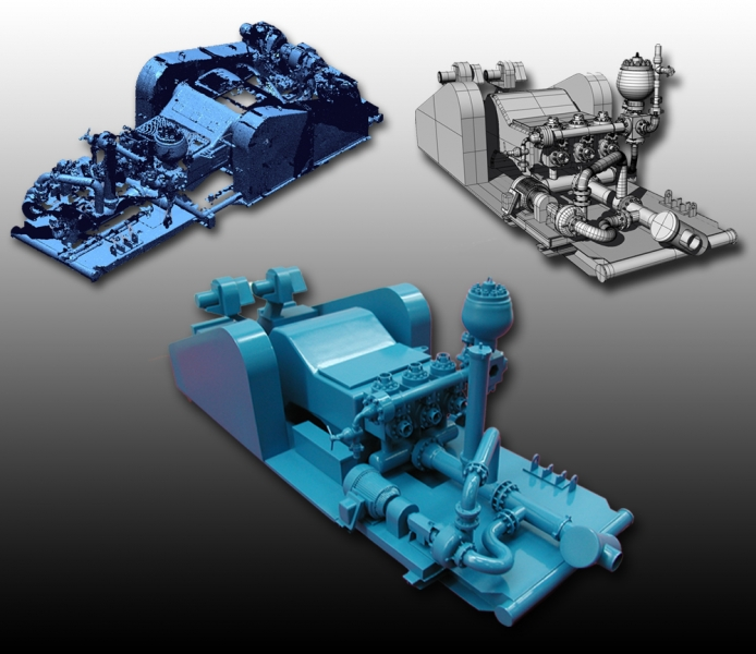 Industrial pump 3D Scan data, CAD data and 3D printed model