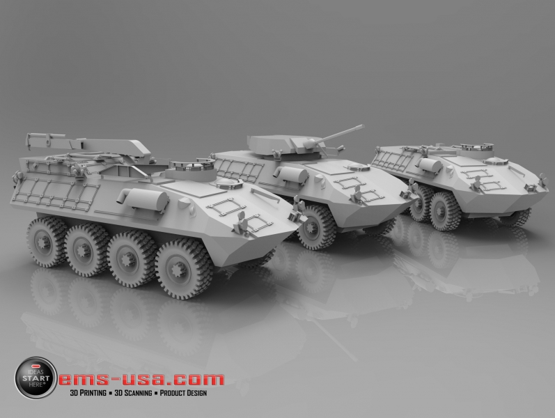 Rendering of CAD data created from 3D Scan data of 3 LAV's