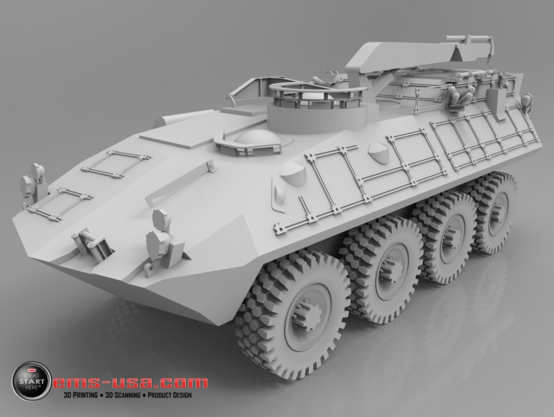 LAV with boom rendered from 3D CAD data created from 3D Scan data