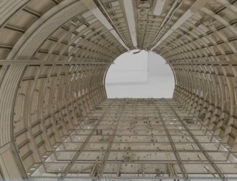 3D CAD model of an airplane interior
