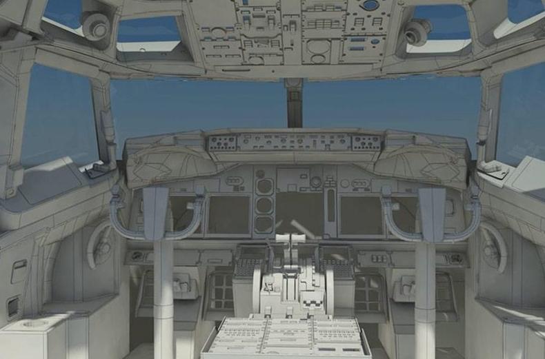 3D CAD model of a cockpit