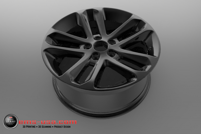 Rendering of 3D Scan data of an automotive wheel