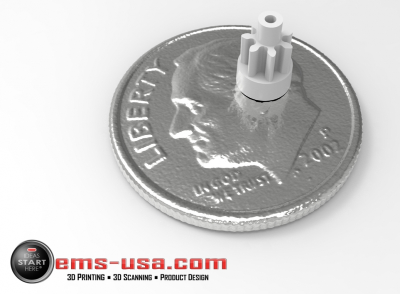 Rendering of a high resolution 3D scan of small gear and dime