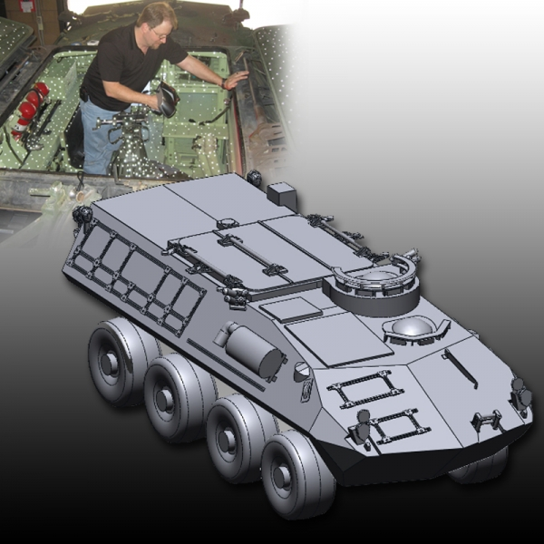 Land Assault vehicle 3D scan to full CAD model