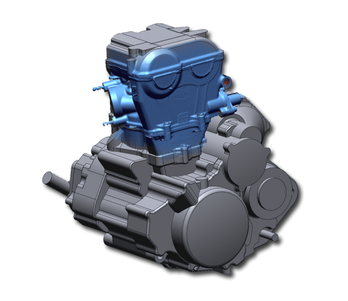3D Scan data and overlaid on completed CAD model of motorcycle engine
