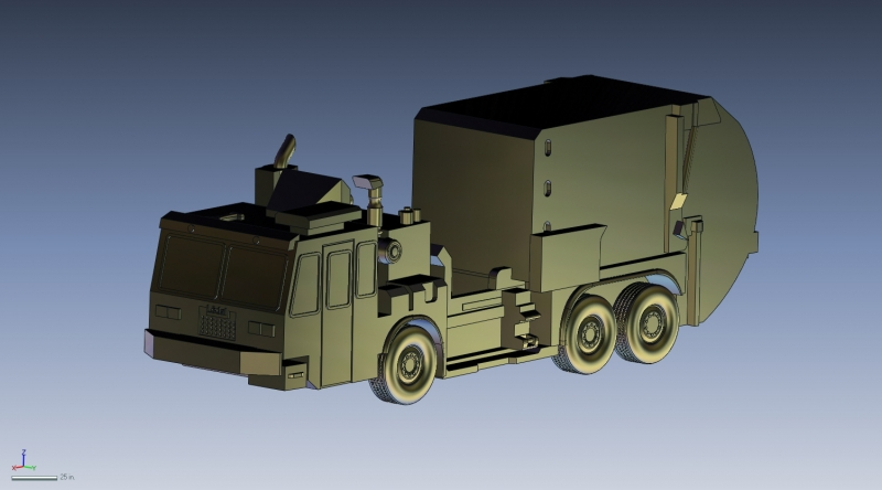 CAD model of Garbage truck
